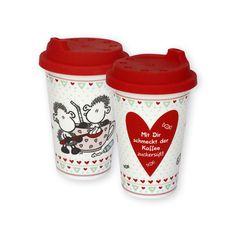 """sheepworld Becher to go »Mit Dir« Dieser liebevoll gestaltete Becher to go von sheepworld hält dank des süßen Spruchs """"Mit Dir schmeckt der Kaffee zuckersüß!"""" nicht nur deinen Kaffee auch unterwegs warm - er macht auch warm ums Herz und ist eine Liebeserklärung der ganz besonderen Art! http://shop.sheepworld.de/shop/nach-Serien-Motive/Mit-Dir/Becher-to-go-Mit-Dir.html?listtype=search&searchparam=43837"""