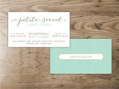 Petite Social Business Cards.  Designed by Saffron Avenue.   Gold Foil. Bombshell. Mint. Herringbone. Patterns. Fonts and lettering.