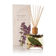 Rosy Rings Roman Lavender Diffuser pays tribute to the fresh lavender bloom. Brightly aromatic stems of fresh lavender are interwoven in an herbal bouquet of rosemary, sage, basil and olive leaf. Wild iris and coastal cypress quietly emerge. Reed Diffuser Oil, Candle Diffuser, Lavender Diffuser, Lemon Blossoms, Luxury Candles, Diffuser Blends, The Fresh, Fragrance Oil, Scented Candles