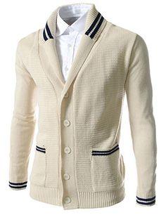(FFC02-OATMEAL) Slim Fit Shawl Collar 5 Button Knitted Cardigan