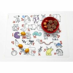Modern-Twist PLS12AARDBK Alaphabet Animals Placemat in Red / Black by modern-twist. $16.00. PLS12AARDBK Features: -Material: Silky food-grade, hand silk-screened silicone.-Free of BPA, lead, latex, phthalates and other harsh chemicals.-Non-porous and germ-free surface. Dimensions: -Overall dimensions: 12'' H x 16'' W x 0.03'' D.