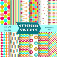 Summer Sweets || Digital Paper Pack || Scrapbook Set