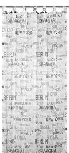 Hochwertiger, transparenter Fertigvorhang, bedruckt mit einem modischen Design: Städtenamen von internationalen Metropolen in unterschiedlichen Farbabstufungen. Trendige Farbstellungen! Fix und Fertig zum Aufhängen: Vorhang mit Schlaufen und Kräuselband, Schlaufen = für die Gardinenstange, Kräuselband = für die Gardinenschiene. Bitte beachten Sie, dass für die Aufhängungsvariante mit Kräuselban...