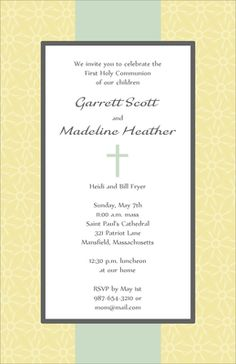 Elegant Yellow and Green Cross Invitations