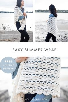 Light, airy and romantic the Dewdrop wrap is a lot easier to crochet than it loo. Poncho Au Crochet, Beau Crochet, Crochet Wrap Pattern, Crochet Shawls And Wraps, Free Crochet, Knit Crochet, Crochet Patterns, Tutorial Crochet, Crochet Scarves