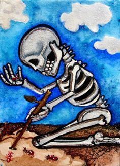 Luree Art Original Dotd Skeleton Fire Ants Day of The Dead Watercolor ACEO NR | eBay