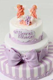 Torturi - Viorica's cakes: Tort botez cu ingerasi pentru Sara Ilinca