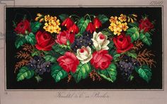 Pillow or carpet pattern with roses, violets, primulas and fuchsia, 19th century