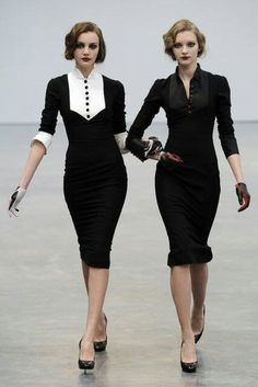 Like twins. Cocktail tailored dresses, coverin th female shape. Perfect!