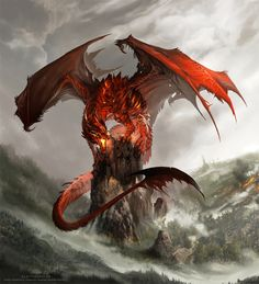 Dragon with fiery ribs