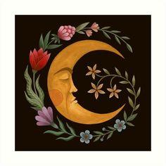 Gravure Illustration, Illustration Art, Illustrations, Moon Painting, Painting & Drawing, Painting Inspiration, Art Inspo, Art Hippie, Moon Art