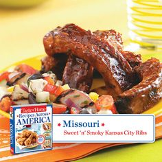 50 States in 50 Days:  Missouri :: Sweet 'n' Smoky Kansas City Ribs Recipe from Taste of Home.    Find regional Midwestern recipes like this one and more in our new cookbook, Recipes Across America---->  http://www.tasteofhome.com/rd.asp?id=22997
