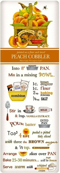 Harvest Peach Cobbler Recipe 100% Cotton Flour Sack Dish Towel Tea Towel