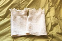 Upcycled Vintage White Lace Sweater Boot Cuffs - pinned by pin4etsy.com