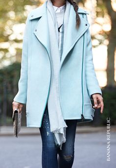 Love this oversized moto-inspired coat in an unexpected mint shade for fall. Pair it with distressed skinny jeans and a bold metallic clutch to round out this monochromatic look.