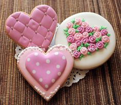 cookies decorated for Valentine's Day ... hearts ...