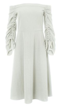 With an easy, off-the-shoulder silhouette, this dress is suited for daytime wear and nighttime activities alike. Tied sleeves add drama and flatter the arms and elastic detailing on the neckline ensures a comfortable fit. 95% Polyester, 5% Elastane. Professional Dry Clean Only.Style Number: F17SC15190Available in: Ivory, Midori Green, Navy, Elbe Blue