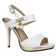 Elegant Women's Sandals With Platform and Faux Pearls Design
