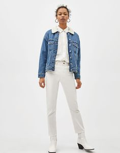 Straight cropped mid waist jeans - null - Bershka United Kingdom Fashion News, Latest Fashion, Jeans, Moda Online, White Denim, Overalls, Jackets, United Kingdom, Shopping
