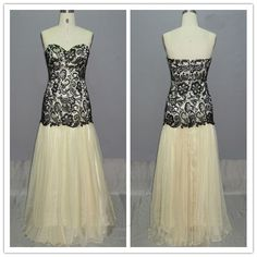 Sweetheart neck champagne prom dress with black lace