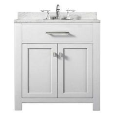 Design Element London 30 in. W x 22 in. D Single Vanity in White with Marble Vanity Top and Mirror in Carrara White-DEC076E-W - The Home Depot