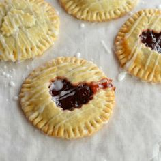 Hand Pies filled with Nutella and Tart Cherry Preserves then Drizzled with Glaze.