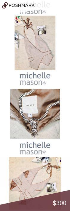 d1a17c2232b3 ... NEW •  RARE    Michelle Mason   • Silk lined and silk pin striped outer  layer vest by Michelle Mason