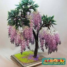 Scheme trees from beads.  Wisteria Beaded