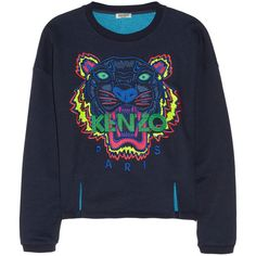 KENZO Tiger embroidered cotton sweatshirt ($285) ❤ liked on Polyvore