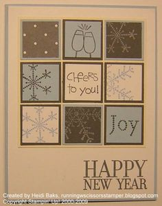 Stampin Up card ~ could use any little stamps (hearts for February birthday ~ snowflakes mittens for winter birthday ~ apples, pumpkins, leaves for fall birthday ~ flowers etc. for spring/summer birthday . Chrismas Cards, Xmas Cards, Holiday Cards, New Year Cards Handmade, Happy New Year Cards, Scrapbooking, Scrapbook Cards, Winter Birthday, February Birthday