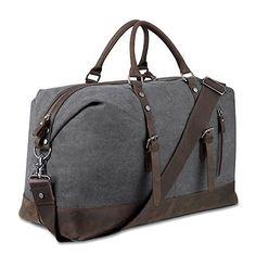 2de194fcf40d2 BLUBOON Reisetasche Weekender Gro Damen Herren Vintage Leder Segeltuch  Holdall Overnight Travel Bag (Armeegrün)  Amazon.de  Koffer