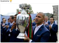 Ricardo Quaresma shows off his team's European title the morning after their stunning one . Portugal Fc, Portugal Euro 2016, Cristiano Ronaldo, Real Madrid, Celebrities, Expresso, Twitter, Championship Football, Proper Nouns