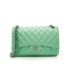 Pre-Owned Chanel Patent Leather Classic Jumbo Double Flap Bag (233,230 PHP) ❤ liked on Polyvore featuring bags, handbags, shoulder bags, green, quilted shoulder bag, green patent leather handbag, shoulder strap handbags, patent leather purse and pre owned handbags