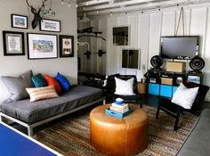 Garage Redesigned to Teen Hangout Space Daybed In Living Room, Daybed Room, Futon Bedroom, Living Room Decor, Teen Bedroom, Bedroom Furniture, Living Area, Living Spaces, Garage Game Rooms