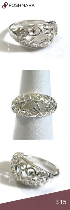 Silver dipped filigree ring A marvelous sterling silver dipped filigree ring. Size eight. nejd Jewelry Rings