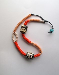 Beaded asymmetrical necklace Native American by AnAstridEndeavor, $45.00