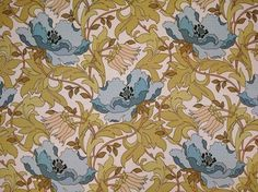 Cornflower blue Art Deco cotton upholstery fabric