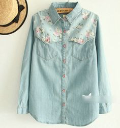 f560e1e4a735 Tangada Fashion Women Elegant Floral Blue Denim 3XL Blouses Shirts Long  Sleeve Casual Oversized blusas tops plus size 2016-in Blouses   Shirts from  Women s ...