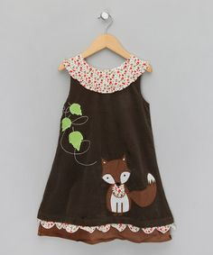 Take a look at this Brown Fox Corduroy Dress - Infant, Toddler & Girls by Powel Craft on #zulily today!