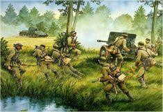 Soldados de la 269.ª Division de Infanteria usan cañones contracarro capturados para destruir carros sovieticos T-34. Grupo de Ejercitos Norte. Rusia, Julio de 1941 by Peter Dennis