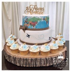 Reisethema Hochzeitstorte – Torten – – Wedding Cakes With Cupcakes Themed Wedding Cakes, Wedding Cakes With Cupcakes, Themed Cakes, Wedding Themes, Wedding Ideas, Trendy Wedding, Travel Cake, Travel Party, Food Travel