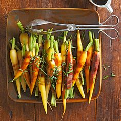 Satisfy your holiday guests with a spectacular vegetarian Christmas dinner! http://www.bhg.com/christmas/dinner/vegetarian/?socsrc=bhgpin111614orangeandbalsamicglazedtricolorcarrots&page=7