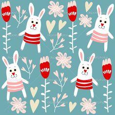 Милые бесшовный паттерн с кроликами, сердечками и цветами, векторные иллюстрации фона — Stock Illustration #38730517