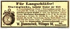 Original-Werbung/Anzeige 1906 - STURMGLOCKE - LAUTESTER WECKER DER WELT / BLUMENSTOCK VILLINGEN - ca. 80 X 30 mm