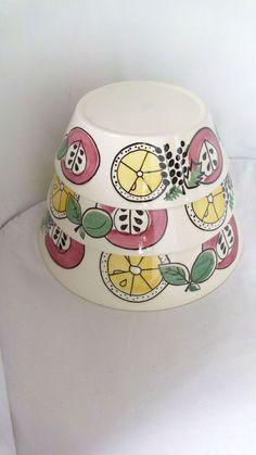 STAFFEL LIMBURG DOM Keramik Schüsseln 3 St. Obst-Dekor Vintage 50er / 60er Jahre