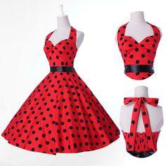 Vintage Retro Halter Polka dot Swing 50's Housewife pinup Rockabilly Dress S-XL #GraceKarin #Polka