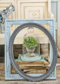 Thrifted or cast-off frames become cottage-chic décor  when you bring chalky finish into the mix.