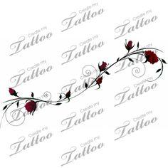 Marketplace Tattoo Roses on Slender Vine #1104 | CreateMyTattoo.com