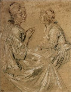 Two Seated Women - Antoine Watteau Start Date: 1716 Completion Date:1717 Style: Rococo Genre: sketch and study Technique: chalk Material: paper Dimensions: 21.2 x 35.2 cm Gallery: Musée du Louvre, Paris, France