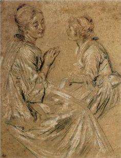 Two Seated Women - Antoine Watteau